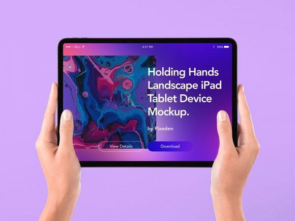 Free Tablet iPad Mockup in Hand