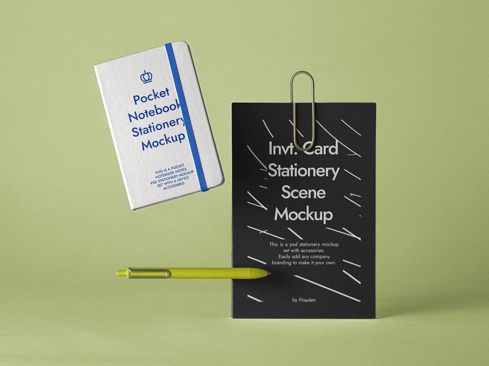 Stationery Notebook Mockup Scene