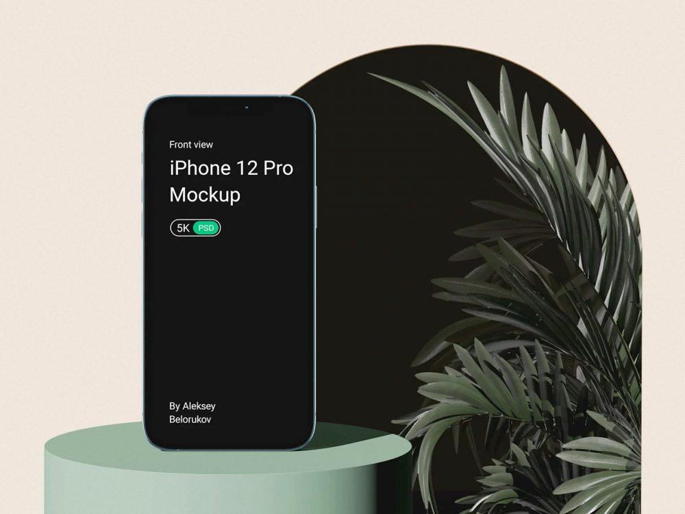 iPhone 12 Pro with Plant Mockup Scene