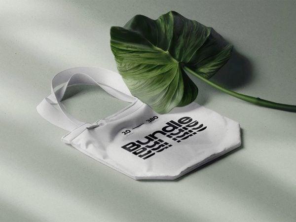 Fabric Bag PSD Mockup with Tropic Leaf