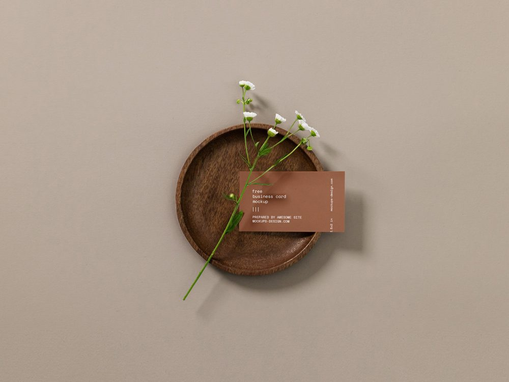 Free Business Card Mockup with a Flower