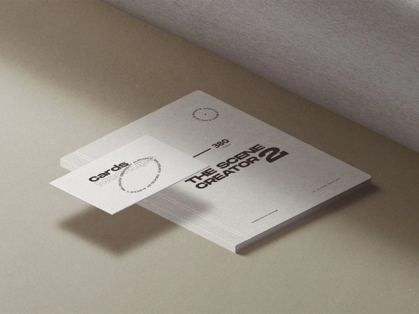 Free Catalog with Business Card Mockup Scene