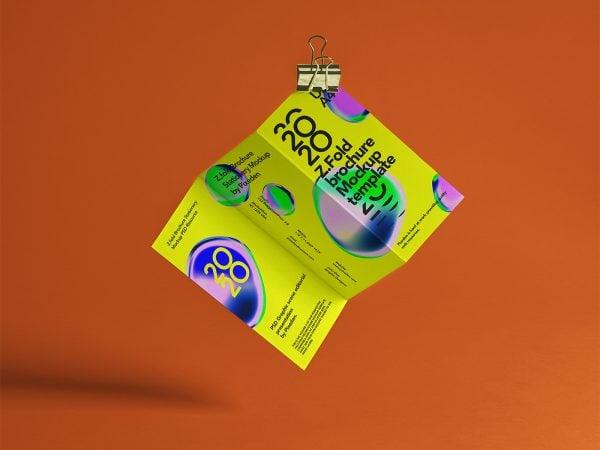 Free Z-Fold Brochure PSD Mockup