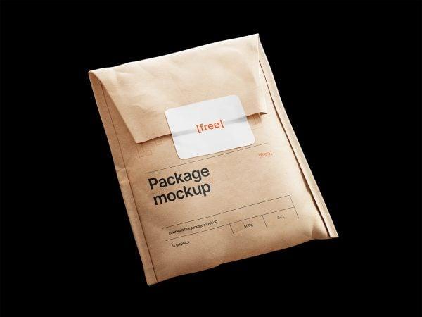 Kraft Paper Postal Bag with Sticker Mockup