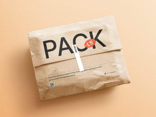 Kraft Paper Postal Package Free Mockup