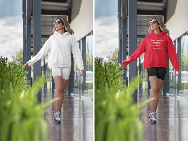 Placeit Mockup of a Woman Wearing a Fitness Outfit with a Hoodie